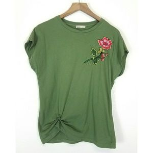 ZARA green embroidered top